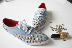 """Studded Sneakers: """"My DIY inspiration was the Christian Louboutin studded sneakers. Even though they're for men I totally would wear a pair.""""- Karen Abiog, Ad Sales Coordinator    Supplies: Sneakers, Push Pins, Gold Nail Polish, Pliers    Push the pins into the shoe. With a plier bend the edges of the pins inside the shoes and voila you have your own faux Christian Louboutin sneakers. Paint the push pins with gold nail polish to add a little glam."""
