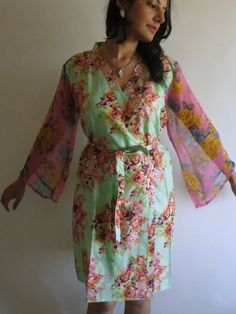 Robe with floral chiffon sleeves made from CC1 Fabric Pattern