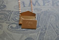 little love note  brass envelope charm on by chainchainchained, $35.00