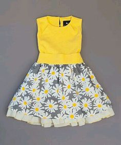 Llum Yellow Veronica Ramblas Dress - Infant, Toddler & Girls on today! A Lycra spandex-blended bodice adds stretchy comfort to this petticoat-inspired dress, which buttons in back to make overhead dressing as easy as can be. Designer Llum, so many adorabl Toddler Girl Dresses, Little Girl Dresses, Toddler Outfits, Kids Outfits, Girls Dresses, Toddler Girls, Infant Toddler, Little Girl Fashion, Toddler Fashion