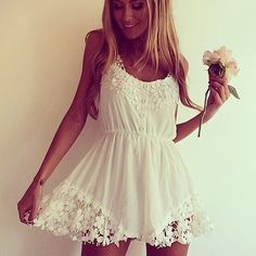 White Sleeveless Floral Crochet Lace Jumpsuit (if i were in my 20's again, i'd use this)