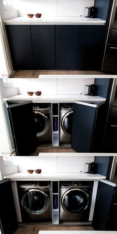 laundry room design ideas that are clever and space-saving ., # space-saving laundry room design ideas that are clever and space-saving ., laundry room design ideas that Outdoor Laundry Rooms, Small Laundry Rooms, Laundry Room Design, Laundry In Bathroom, Outdoor Rooms, Laundry In Kitchen, Laundry Decor, Laundry Area, Laundry Room Shelves