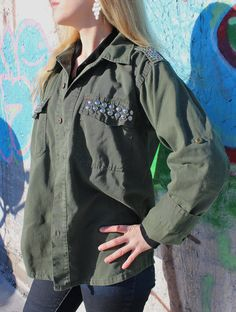 Studded Olive Drab Army Fatigue Jacket Assorted by FlamingoMaude, $49.00