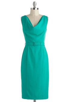 Networking for Me Dress - Long, Green, Solid, Belted, Work, Sheath / Shift, Sleeveless, Cowl, Vintage Inspired - 129.99