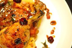 Rosemary Apple Glazed Chicken with Dried Cranberries and Bacon Polenta.