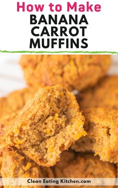 This recipe for Banana Carrot Muffins is so easy! You can serve these moist and healthy muffins for breakfast, snack, or dessert. This is a healthy treat for kids that include a serving of vegetables. Simple Muffin Recipe, Healthy Muffin Recipes, Healthy Muffins, Healthy Dessert Recipes, Whole Food Recipes, Breakfast Recipes, Healthy Breads, Baking Recipes, Diet Recipes