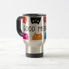 Cats Colorful Good Meowning Cute Funny Vibrant Travel Mug - good gifts special unique customize style