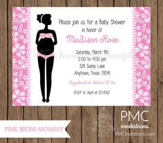 Custom Printed Pink Bikini Baby Shower by PMCInvitations on Etsy, $1.00