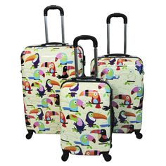 This colorful and fun luggage set will stand out in the baggage claim. Lightweight and durable, it makes the ideal traveling companion domestic or abroad.