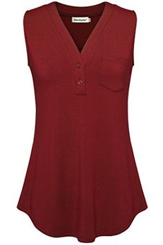 Women Button Blouse,Nandashe Sleeveless Top for Leggings V Neck Tunic Tank Red M  Special Offer: $23.99  233 Reviews Nandashe Womens Split V Neck Sleeveless Stretchy Tunic Tank Tops Button T Shirts This sleeveless stretchy tunic tank top is reformed according to the 3/4 roll up...