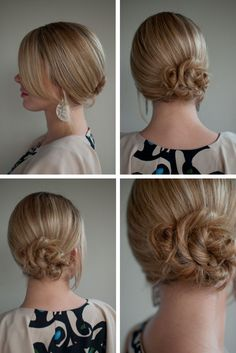 Sleek side twisted bun! Chic and simple updo... which means it will take me at least an hour to do.