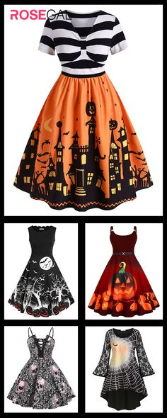 Rosegal plus size Halloween costume dress vintage Halloween dresses ideas Rosegal plus size H Retro Halloween, Costume Halloween, Plus Size Halloween, Halloween Outfits, Halloween Party, Halloween Decorations, Halloween Nails, Halloween Makeup, Halloween Clothes