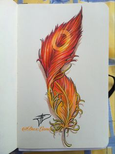 This feather holds a lot more symbolism to a phoenix then one may see. The art on this is amazing and it shows the interesting and beautiful colors of a phoenix. Trendy Tattoos, New Tattoos, Body Art Tattoos, Small Tattoos, Tatoos, Pheonix Feather, Phoenix Feather Tattoos, Tattoo Plume, 1 Tattoo