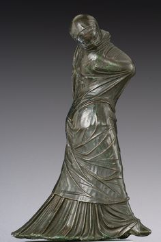Bronze statuette of a veiled and masked dancer. Greek, century B. The complex motion of this dancer is conveyed exclusively through the interaction of the body with several layers of dress. Hellenistic Art, Feet Show, Cleveland Museum Of Art, Cool Masks, Roman Art, Masks Art, Greek Art, Ancient Art, Alexandria