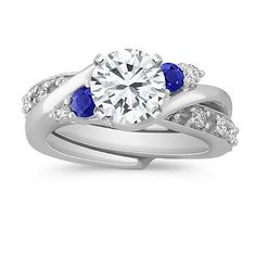 Swirl Round Sapphire and Diamond Wedding Set for Her.  Liking how the wedding band just slips on in there.