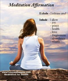 A meditation affirmation is a great way to relieve anxiety and stress. It focuses your attention in the present moment and releases your mind from a borage of stressful and/or anxious thoughts. When you do this, you calm your mind and can relax.