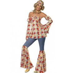 #Disfraz de #Hippie para Mujer con camisa, cinta para la cabeza y pantalón de campana #Años60