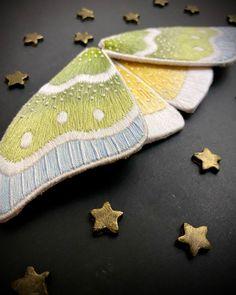 Embroidery stumpwork moth wings