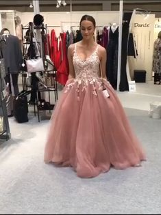 Pink Prom Dress,Tulle Prom Dress,Appliques Prom Dresses,V-Neck Prom Dress Floral Prom Dresses, V Neck Prom Dresses, Prom Dresses For Teens, Red Wedding Dresses, Tulle Prom Dress, Beautiful Prom Dresses, Pretty Dresses, Formal Dresses, Mode Outfits