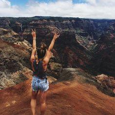 Thrasher Shorts take Hawaii's Grand Canyon. Waimea Canyon, you're a beaut. Join our Thrasher Tribe via link in bio