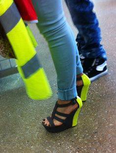 Neon heels and jeans