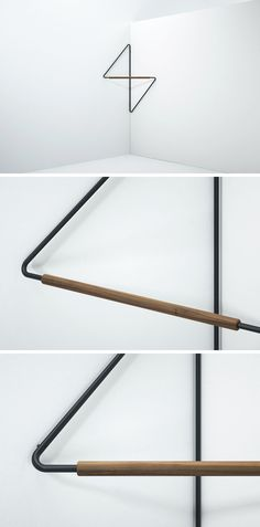SMPDO (Simon Morasi Pipercic Design Office) has created Ugao, a minimalist clothes rack that's been designed to save space and neatly fit into the corner of a room. Ligne Roset, Diy Furniture, Furniture Design, Industrial Furniture, Vintage Industrial, Industrial Style, Compact Furniture, Industrial Lamps, Furniture Vintage