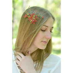 Red bridal comb hair green red head piece back Crystal hair vine red... (890 UAH) ❤ liked on Polyvore featuring accessories, hair accessories, hair combs, flower hair comb, hair comb accessories, crystal hair accessories and bridal hair accessories