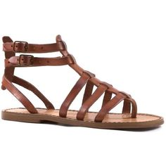 Flat gladiator sandals for women Handmade in Italy in cuir leather ($80) ❤ liked on Polyvore featuring shoes, sandals, flat shoes, vintage sandals, gladiator sandals, flat sandals and roman sandals