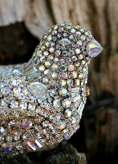 Jeweled Vintage Crystals Rhinestones Jewelry Decorative Small Bird - Original Art Decor - Talon - Treasury Item