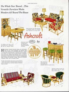 1950 cane furniture | 1950 Heywood Wakefield Furniture Ad Rattan Tropical Mid Century Modern ...