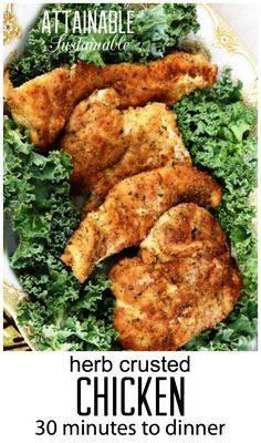 You're 30 minutes away from a tasty, healthy dinner with this easy herb crusted chicken recipe. Use gluten free bread crumbs Herb Crusted Chicken Recipe, Breaded Chicken, Turkey Recipes, Chicken Recipes, Dinner Recipes, Dinner Ideas, Real Food Recipes, Cooking Recipes, Healthy Recipes