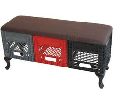 ... Milk Crate Bench, Metal Milk Crates, Plastic Crates, Egg Crates, Plastic Bottles, Storage Bins, Upcycle, Reuse, Recycling