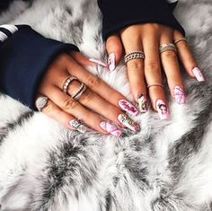 Kylie Jenner Rocks Crazy Barbie Nails, Lots of Diamond Rings - Us Weekly