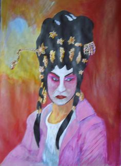 This is my biggest image to date.  It's called Waiting in the Wings - Peking Opera actor.  Acrylic inks on sugar paper, March 2013
