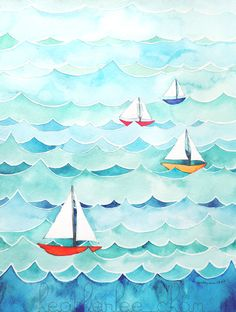 Sailboats with Waves Watercolor Painting Print 8x10 by Heatherlee Chan | Lady Poppins
