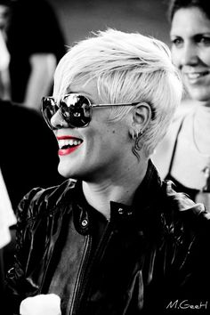 P!nk, leather jacket, sunglasses, red lips