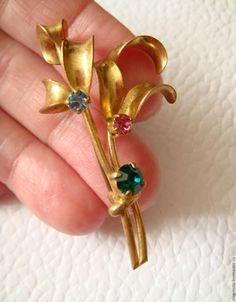 Купить 27 В коллекцию! Брошь Цветы Кристаллы США 1940-е - винтажные украшения