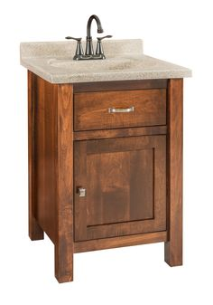 Garland - Small Brown Maple Free Standing Bathroom Vanity / Quick Ship Perfectly petite, this brown maple vanity is just right for your guest bath.