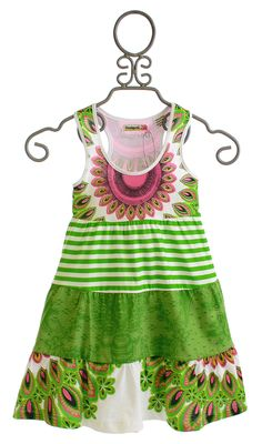 Desigual Summer Dress for Girls in Tiered Green $36.00