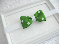 St Patrick's Day Bow Baby Headband Green by PinkLemonadeDuxbury, $7.00