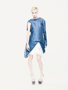 Linen Jacket One Sleeve Dress Blue Linen Dress by MariaQueenMaria