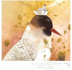 The work of Korean illustrator Chun Eun Sil via Drawn! The Illustration and… Beautiful Artwork, Beautiful Birds, Korean Painting, Children's Book Illustration, Book Illustrations, Whimsical Art, Bird Art, Cartoon, Drawings