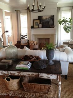 Great Room. Good setup around fireplace. Like the table behind the couch look