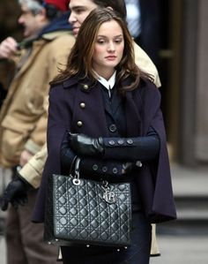 Blair's navy cape and her Dior's bag