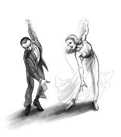 """Fred Astaire and Ginger Rogers (Pose is from 'Swing Time', the dance number """"Never Gonna Dance"""") / by ncdoodles (formerly scribbledigooks) Drawing Sketches, Art Drawings, Daisy Drawing, Dancing Drawings, Fred Astaire, Couple Drawings, Poses, Dance Art, Illustrations"""