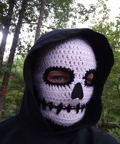 Death Mask Crochet Skull Ski or Biker Mask by TheGreenKharmaleon, $50.00.