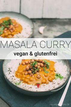Schnelles Masala Kichererbsen Curry Rezept - My list of the best food recipes Air Fryer Recipes Vegetarian, Vegetarian Curry, Chickpea Curry, Vegetarian Lunch, Curry Recipes, Vegetarian Diets, Vegan Curry, Vegan Food, Easy Indian Dessert Recipes