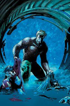 Aquaman Saving Supes and Bats