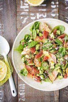 Salade met zalm, avocado en pompelmoes - Libelle Lekker
