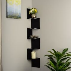 Black Laminate Large Corner Wall Mount Shelf - 16086224 - Overstock.com Shopping - Great Deals on Danya B Accent Pieces